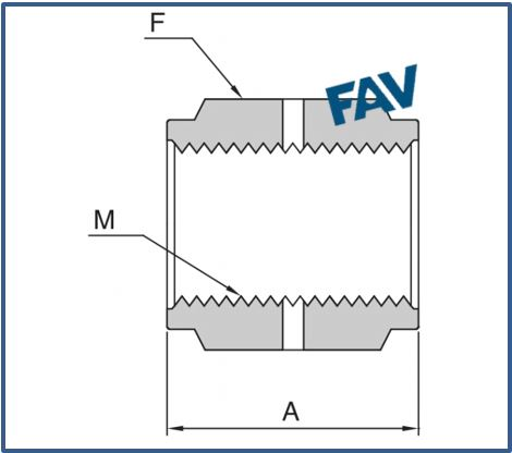Reducing Coupling Metal face